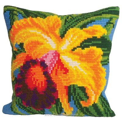 Coussin point de croix Collection d'art orchidée du paradis