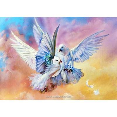Kit broderie diamant Collection d'art envol de pigeons