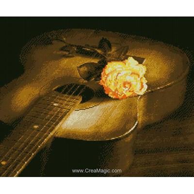 Kit broderie diamant guitare et la rose - Diamond Painting