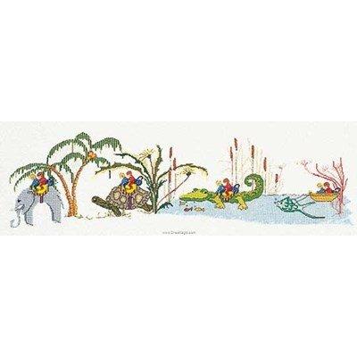Animal caravan sur lin kit tableau point de croix - Thea Gouverneur