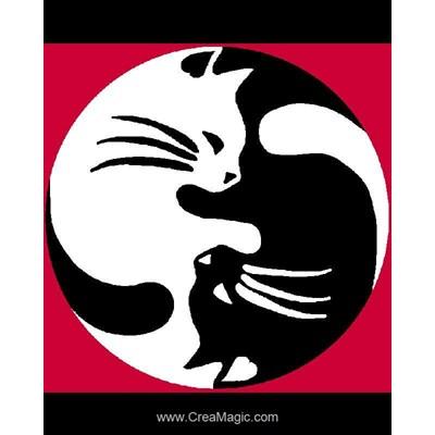 Ying yang chat kit canevas a broder pour enfants - Luc Création
