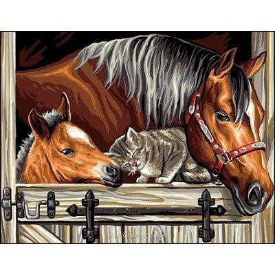 Canevas un trio de chevaux et chat en or de Rafael Angelot