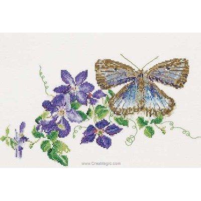 Butterfly-clematis sur aida broderie point compté - Thea Gouverneur