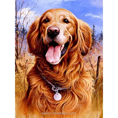 Kit broderie diamant golden retriever de Diamond Painting