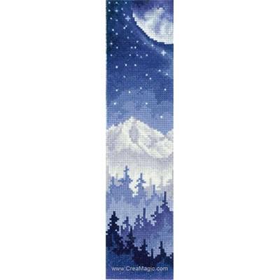 Marque page à broder montagne au clair de lune d'Andriana