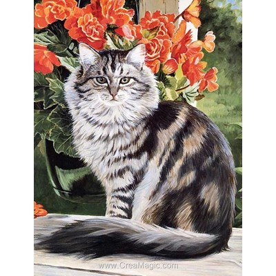 Kit broderie diamant cat in the garden - Diamond Painting