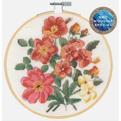 Point de croix DMC collection flows - roses sauvages