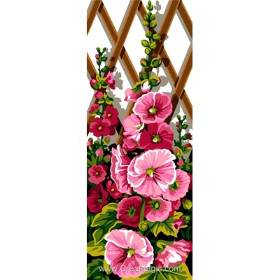 Canevas roses trémières sur les croisillons - SEG