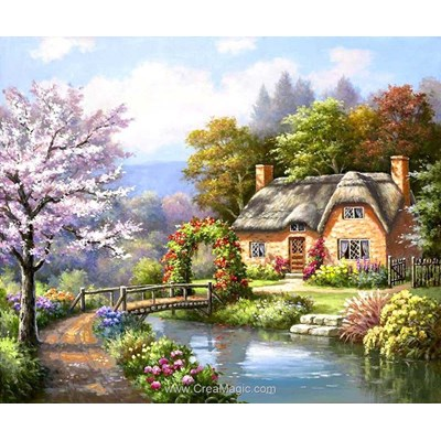 Broderie diamant house near the river - Diamond Painting