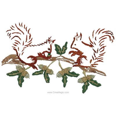 Broderie traditionnelle ecureuils et la branche de chêne - Au Fil De L'Ange