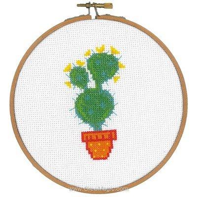 Broderie en point compté cactus fleuri jaune avec cercle - Vervaco