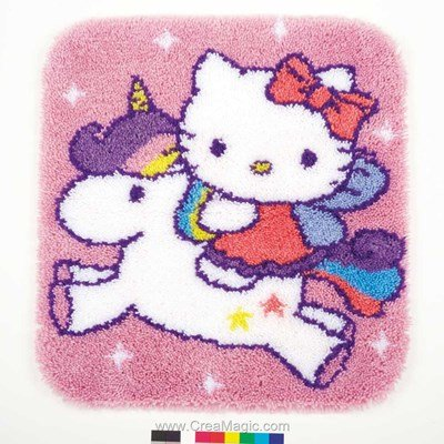 Kit tapis point noue kitty sur la licorne - Vervaco