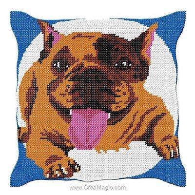 Coussin demi point bulldog couché de Luc Création