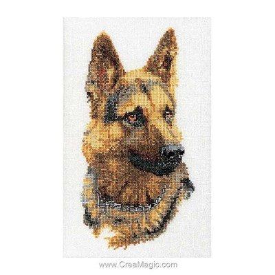 Broderie en point compté shepherd's dog sur lin - Thea Gouverneur