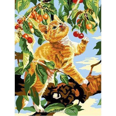 SEG canevas chaton cueille des cerises