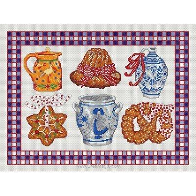 Point de croix pots et gateaux - toile lin - Anagram