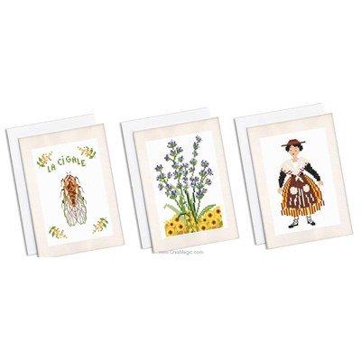 Kit carte à broder lot de 3 cartes souvenir de provence de Marie Coeur