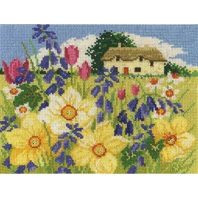 Tableau point de croix cottage du printemps - DMC