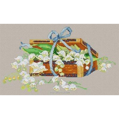 Kit tableau Anagram point de croix panier de muguet - toile lin