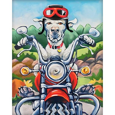 Broderie diamant Diamond Painting dog the biker