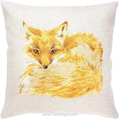 Coussin la fourrure dorée du renard à broder en broderie au point de croix compté Luca-S