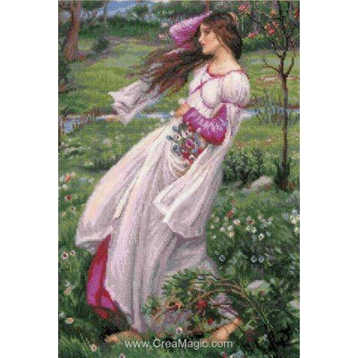 Kit broderie point de croix windflowers after j. W. Waterhouse's painting de RIOLIS