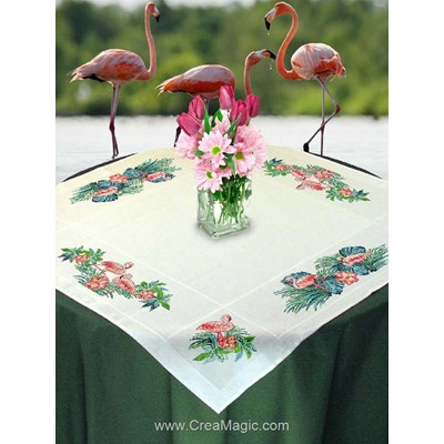Kit nappe flamants rose à broder au point de croix - Mimo Verde