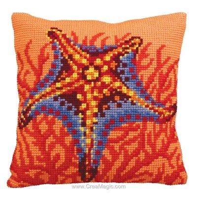 Kit coussin Collection d'art au point de croix etoile et corail orange