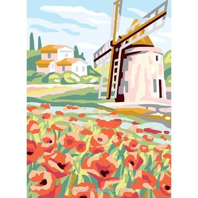 Le moulin à vent et coquelicots canevas - Collection d'art