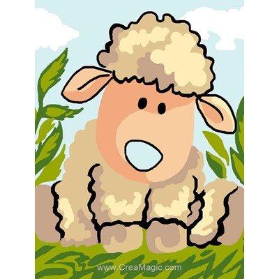 Kit canevas Luc Création pour enfant petit agneau assis