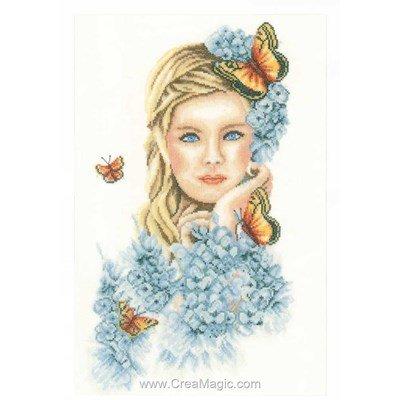 Kit broderie la fille aux papillons de Lanarte