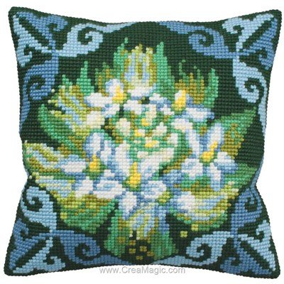 Coussin ledum bleu de Collection d'art au point de croix