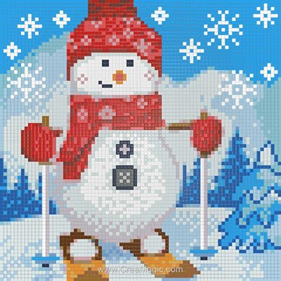 Kit broderie diamant snowman on the sledge de Diamond Painting