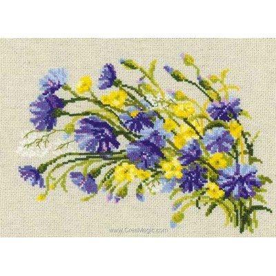 Point de croix de RIOLIS à broder fleurs en jaune et bleu
