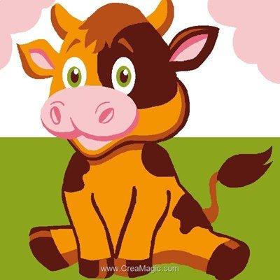 Kit canevas Luc Création pour enfant la vache rigolotte