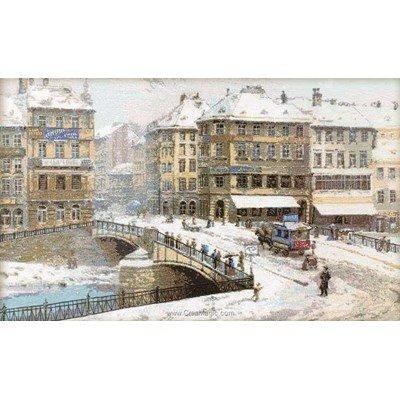 Kit à broder au point de croix RIOLIS le pont de la ville enneigé