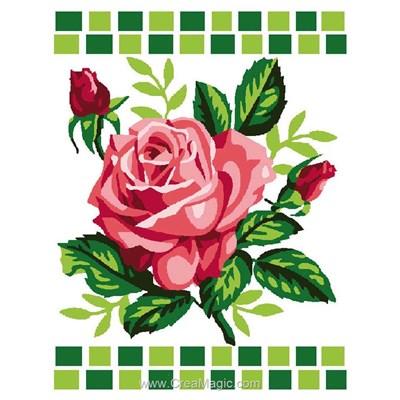 Kit canevas complet rose et ses boutons de Luc Création