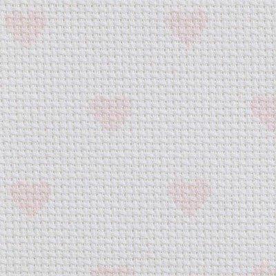 Toile aida 5.5 pts imprimée rose coeurs de DMC