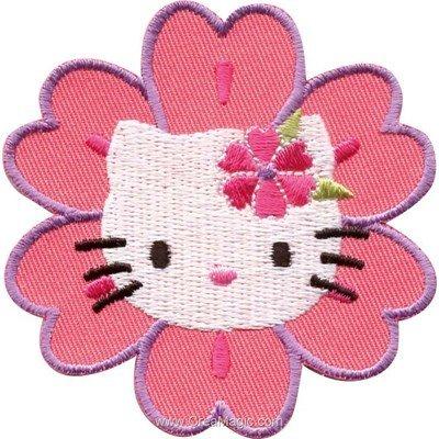Ecusson thermocollant hello kitty portrait fleuri - MLWD