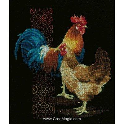 Kit Vervaco à broder au point de croix coq et poule black