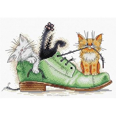 Kit au point de croix compté MP Studia jeux de chaton dans la chaussure