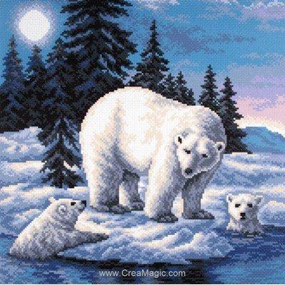Kit broderie imprimée ours polaires sur aida de Collection d'art