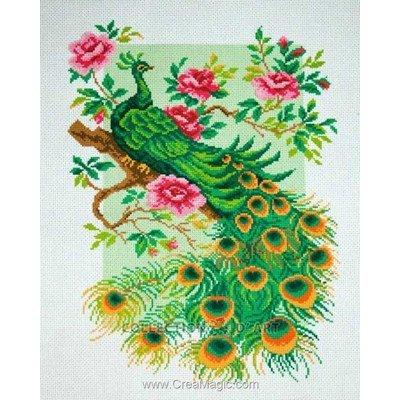 Kit broderie aida imprimée paon peacock de Collection d'art
