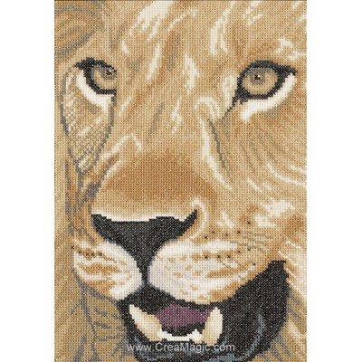 Broderie au point de croix point compté lion in close up sur etamine de Lanarte