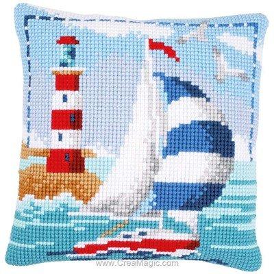 Kit coussin Vervaco voilier au phare au point de croix