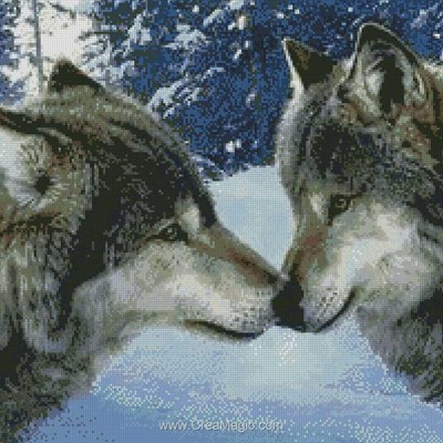 Broderie diamant wolf kiss de Diamond Painting
