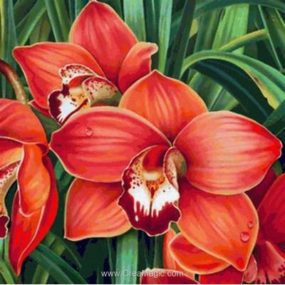 Kit broderie diamant orchidées rouge de Diamond Painting