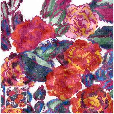 Kit broderie composition roses du tableau variations d'édouard bénédictus - DMC