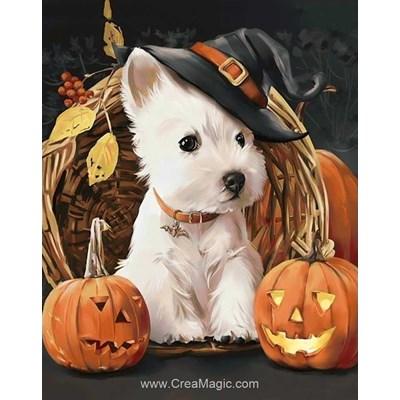 Broderie diamant chien à halloween - Wizardi