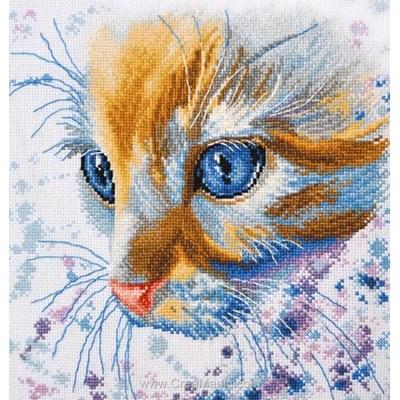 Point de croix à broder chat roux d'Oven